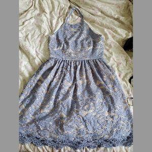 Lavender lace halter dress